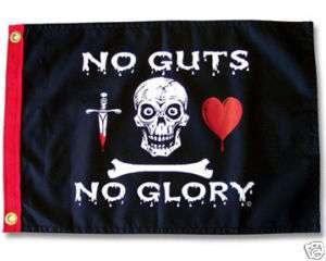 NO GUTS NO GLORY 12X18 BOAT FLAG PIRATE JOLLY ROGER