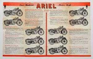 1939 Germany ARIEL Motor Cycle Bike Advertising Leaflet MOTORCYCLE