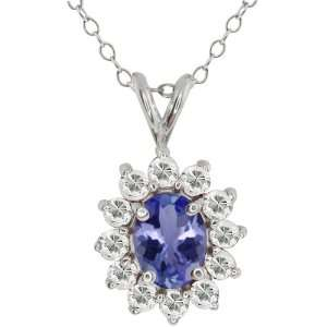 2.12 Ct Oval Blue Tanzanite and White Topaz 14k White Gold