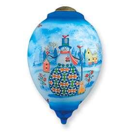New Christmas Snowman Hand painted Glass Ornament Gift NeQwa Art