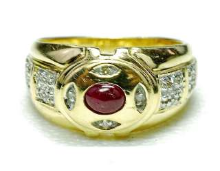 14k yellow Gold   Diamond & Natural cabochon Ruby ladies Cocktail ring