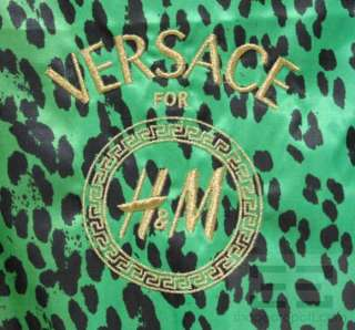 Versace for H&M Green Palm Print Sequined Zip Front Sleeveless Dress