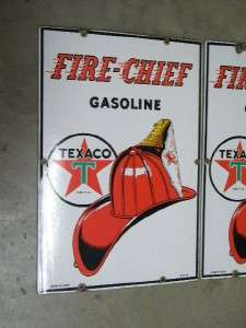Chief Gas Motor Oils Pump Signs Porcelain Matching Pair 1947