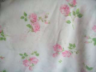 SHABBY BEACH COTTAGE PINK ROSES TWIN FLAT SHEET PARIS APT CHIC