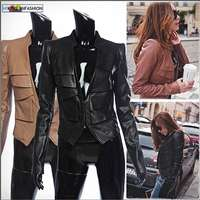 motorcycle womens faux leather jacket