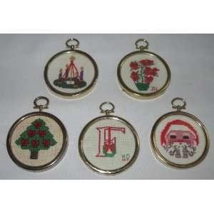 Set of 5 Handmade Cross Stitch Christmas Ornaments Gold
