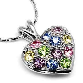 Swarovski Crystal ~RAINBOW HEART~ Pendant Necklace