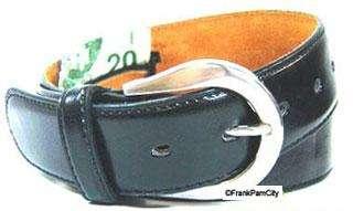 Leather Black Money Belt / Travel Belt   XL