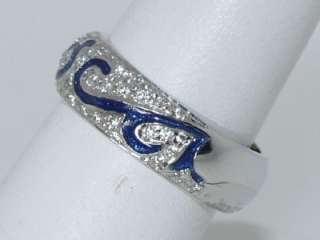 HIDALGO 18 KT. WHITE GOLD DIAMOND & ENAMEL RING