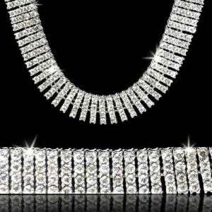 ROW WHITE GOLD ICED OUT HIP HOP BLING CHAIN NECKLACE