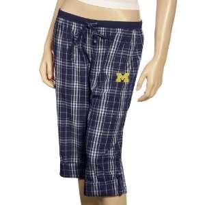 Michigan Wolverines Ladies Navy Blue Plaid Highland Roll up Pants