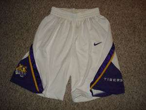 LSU TIGERS BASKETBALL AUTHENTIC GAME SHORTS USA MADE LOUISIANA STATE