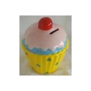 Ceramic Yellow Cupcake Money & Coin Bank