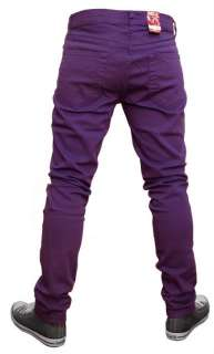 MENS SKINNY JEANS INDIE EMO PUNK ROCK RETRO NEW PURPLE