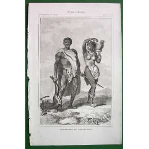 AFRICA Expedition of Le Vaillant Hottentot Man & Woman Return from