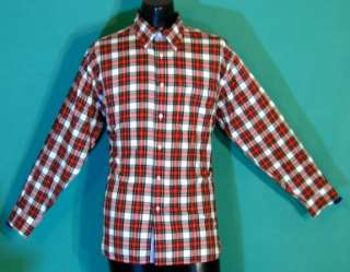 HILFIGER new oxford mens button down shirt plaid red white nwt LARGE L