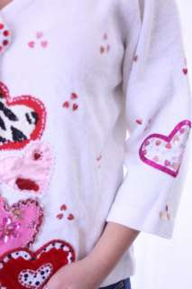 Options Sequin Embellished Valentines Day Heart Cardigan Sweater