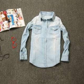 Retro vintage Long Sleeve Blue Jean Denim Shirt Tops Blouse Ibb