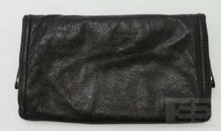 BCBG Max Azria Black Leather & Gold Hardware Foldover Flap Clutch Bag