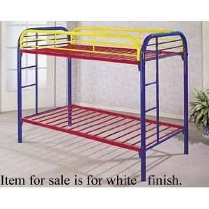 Twin Size Metal Bunk Bed White Finish Home & Kitchen