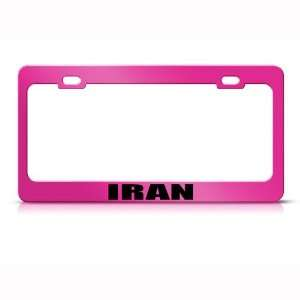 Iran Iranian Flag Pink Country Metal License Plate Frame