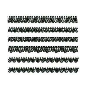 Iridescent Glitter Black Lace Trim Strip Nail Stickers/Decals
