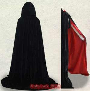 Lined Black Red Velvet Hooded Cloak Cape Wedding LOTR