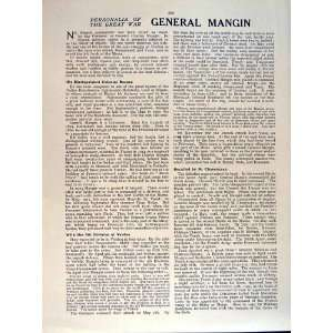 1919 WORLD WAR PORTRAIT GENERAL MANGIN FRENCH ARMY
