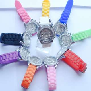 Silicone Crystal Stone Quartz Ladies/Women/Girl Jelly Wrist Wat