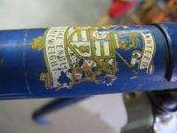 Vintage Londoner Raleigh built lugged steel bicycle bike frame blue