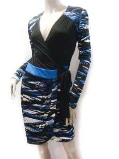 MAXAZRIA Black Blue Jersey Print Party Work Cocktail Wrap Dress