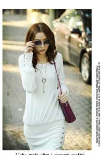 Women Crew Neck Long Top T shirt Mini Dress White G100