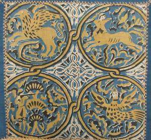 Antique English tablecloth Medieval Celtic design linen