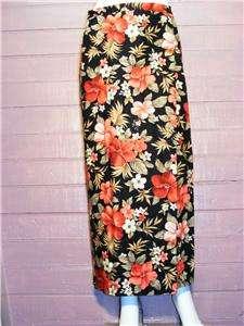 Womens JONES NY Black Floral Long Wrap Linen Skirt,Sz 8