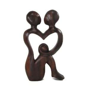 True Love Forever, Entwined Lovers Abstract Art Tropical Wood Carving