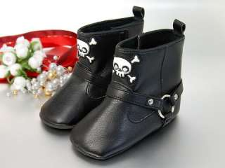 K8 new baby toddler boy black skull boots shoes 9 12M