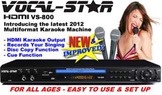 VOCAL STAR HDMI CDG DVD KARAOKE MACHINE PLAYER 2 MICS & GIRLS SONGS