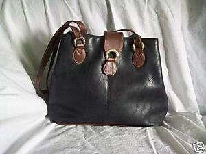 Kathie Lee Collection Black & Brown Leater? Handbag