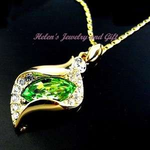 Authentic Swarovski Crystal Necklace Angel Tears Peridot Green 18K