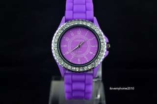 Fashion Luxury Silicone Crystal Men Lady Boy Girl Jelly Quartz Watch