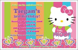 Set of 10 Hello Kitty Personalized Invitations