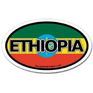 Ethiopia ETH and Ethiopian Flag Car Bumper Sticker Decal