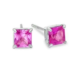 Lab Created Pink Sapphire Stud Earrings in 10K Gold 4mm OPAL Jewelry