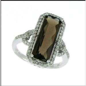 3.90 carat Smokey Topaz on 14 carat white gold diamond