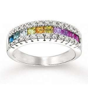 14k White Gold Rainbow Gemstone 1/6 Carat Diamond Ring: Jewelry