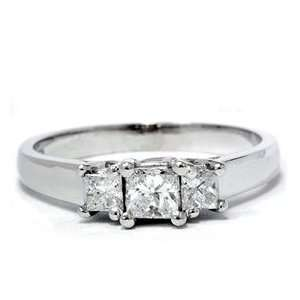 com .50 Ct Princess Cut Diamond Engagement Ring 14K Gold 3 Stone Past