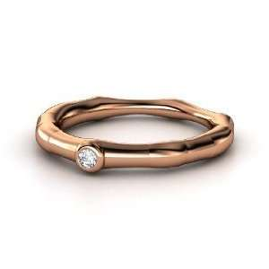 Bamboo One Stone Ring, 14K Rose Gold Ring with Diamond Jewelry