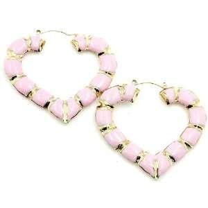 Gold Pink Bamboo Heart Shape Hoop Earrings Jewelry
