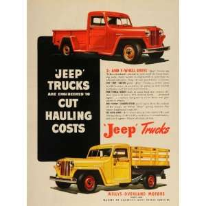 1948 Ad Red Yellow Jeep Pickup Trucks Willys Overland