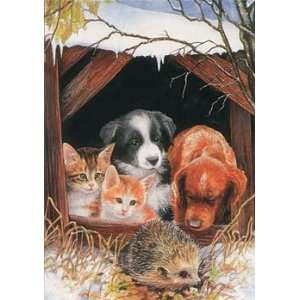 Dogs and Cats with Hedgehog Christmas Cards: Pet Supplies